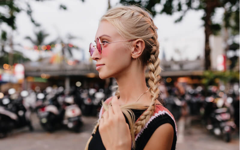 girl with fishtail plait